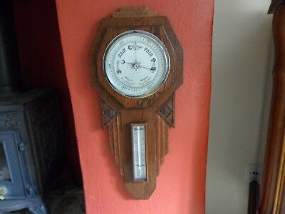 Large Vintage Arts & Crafts Barometer+Thermometer Oak Case Deco Style Wall Mount