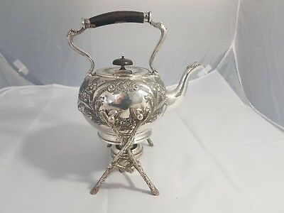 A Beautiful Antique Silver Plated embossed Spirit Kettle By J.deakin & sons.