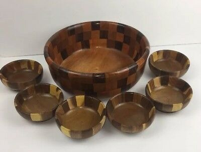 W50- 7 VINTAGE ROATON MID CENTRY WOOD PEDESTAL BOWLS From Estate Find