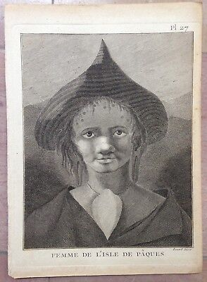 Woman Of Easter Island 1774 James Cook  Antique Engraved Plate