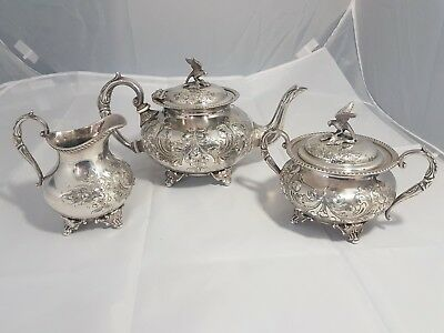 A beautiful Antique Embossed Silver Plated Tea Set By J.turton & co.sheffield.