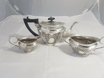 A Beautiful Antique Silver Plated Embossed 3 piece tea set.very elegant.