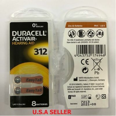 Fresh Lot of 8 Duracell Activair Hearing Aid Batteries Size 312 Exp 08 2021