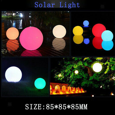 2x LED RGB Lighting Solar Floating Water Swimming Pool Ball Lamps 85mm Dia.