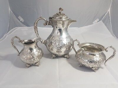 A Beautiful Antique Silver Plated Embossed Tea Set By Jonh Turton.sheffield.