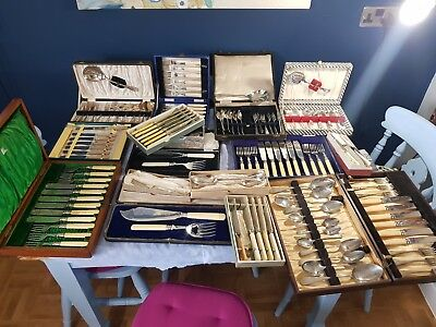 A Job Lot Of 16 Sets Of vintage Silver Plated Cutlery
