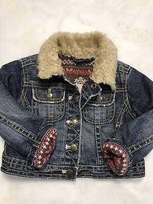 Baby Gap Girls Jean Denim Jacket Faux Fur Collar Sweater Lined 12-18 Months Clothing, Shoes & Accessories