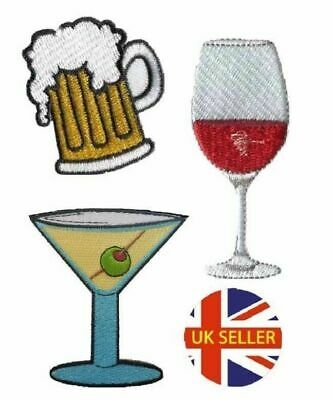 Cocktail Drink Patch Iron On Sew On Straw Lemon Glass Embroidered Badge Applique