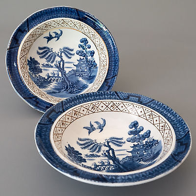 """REAL OLD WILLOW Booths England 2x Dessert Fruit Bowl 5.75"""" Chinoiserie A8025"""