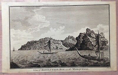 MARQUESAS ISLANDS  by ALEX HOGG 18e CENTURY LARGE UNUSUAL ANTIQUE ENGRAVED VIEW