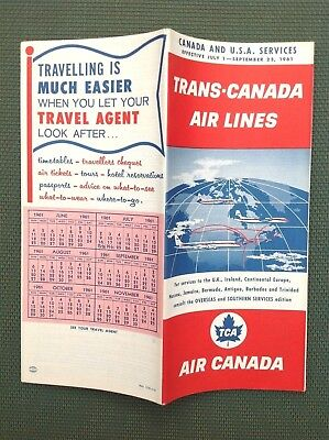 7/1/1961 TRANS-CANADA AIR LINES TIMETABLE North America Via FLY TCA