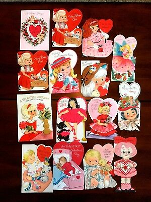 Lot of 15 Vintage VALENTINE'S DAY Children's Greeting Cards, Used