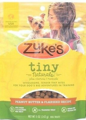 1 Zukes Tiny Naturals Peanut Butter Flaxseed Tender Bites For Training 5 oz