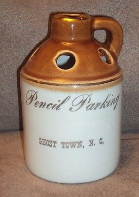 Hand Crafted White and Brown Pottery Clay Jug Pencil Parking, Ghost Town N.C.