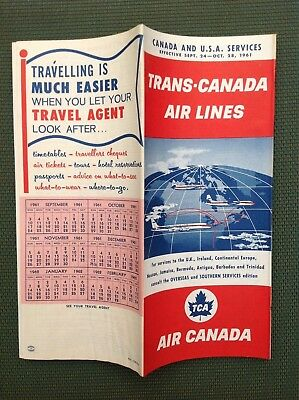 9/24/1961 TRANS-CANADA AIR LINES TIMETABLE North America Via FLY TCA