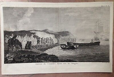 BYRON IN PATAGONIA by ROBERT DE LAUNAY 18TH CENTURY ANTIQUE ENGRAVED VIEW