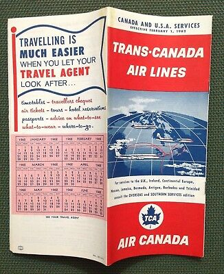 2/1/1962 TRANS-CANADA AIR LINES TIMETABLE Canada & USA  Via FLY TCA