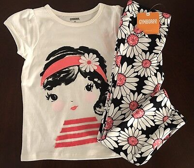 NWT Gymboree Girl Kitty In Pink Ivory Daisy Girl Tee &Daisy Pant Outfit 2T 3T 4T