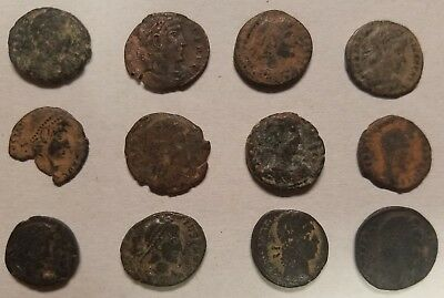 LOT of 12 Ancient Roman Bronze Coins ~ 2nd - 4th Centuries