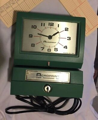 Vintage Acroprint Time Recorder Manual Punch Clk Industrial Office 125NR4 Works!