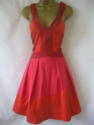 DN182 KAREN MILLEN UK 12 £190 RED ORANGE Colour Blocked 1950s Dress Flared Skirt