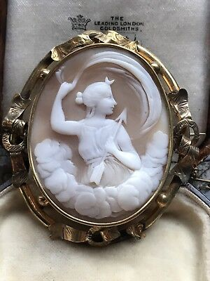 Large Antique Victorian Italian Carved Shell Cameo Brooch/pin Diana ,signed