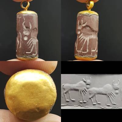 Old Stunning intaglio Old Stone animals Bead made into a gold plated Pendnt # 5A
