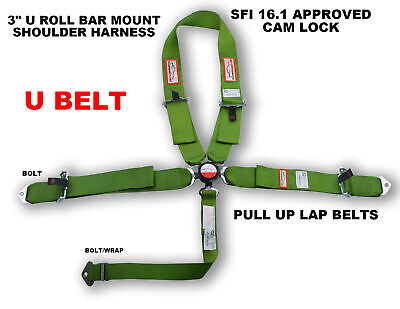 "Racing Harness Sfi 16.1 U Style 5 Point Pull Up Laps 3"" Cam Lock Belt Lime Green"
