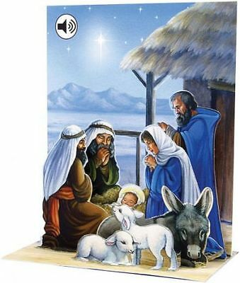 Christmas Pop Up Greeting Card Nativity Art 3D with Sound Holiday Card