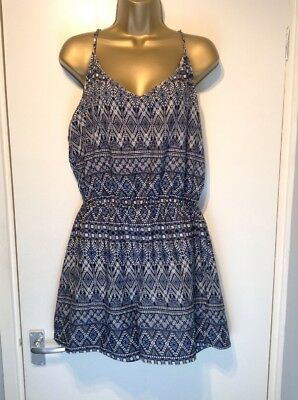 Atmosphere Uk 14 Navy Blue White Aztec Floaty Short Playsuit Jumpsuit