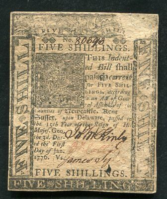 DE-77 JANUARY 1, 1776 5s FIVE SHILLINGS DELAWARE COLONIAL CURRENCY NOTE