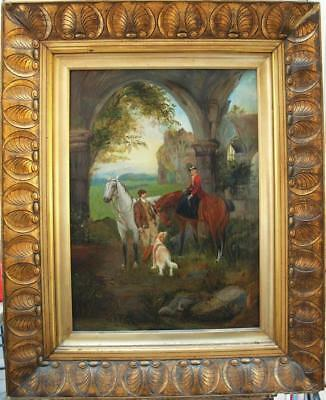 LARGE 19th Century ELEGANT FIGURES ON HORSEBACK BY RUIN  Antique Oil Painting