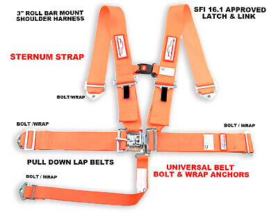 Sfi 16.1 Orange Race Harness , Sternum Strap , Wrap & Bolt Anchors