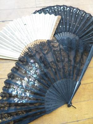 3 Edwardian Fine Silk Fans- Embroidered- Spangled- Hand Painted