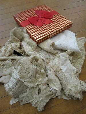 Vintage Chocolate Box of Antique Handmade & Machined Lace- Projects