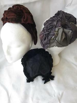 3 Antique Victorian Back of the Head Bonnets- Restoration Projects