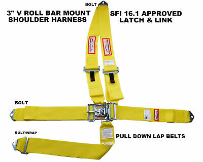 "Racing Harness Yellow 5 Point Sfi 16.1 V Roll Bar Mount 3"" Latch & Link"