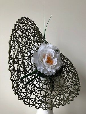 New Green basketweave fascinator with white flowers and green barb quills!