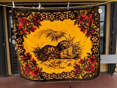 Antique Victorian Sleigh Blanket/Buggy Blanket Mohair Tiger Pattern DOUBLE SIDED