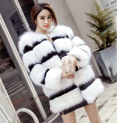 New Women's Winter Warm Fur Short Coat Jacket Stripe Parka Sexy Lady Outwear sz