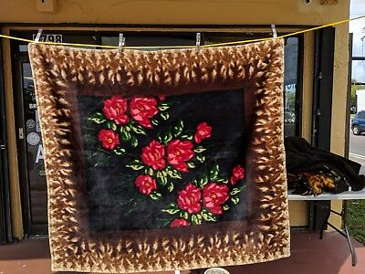 Antique Victorian Chase Sleigh Blanket/Buggy Blanket Mohair Big Red Flower Print