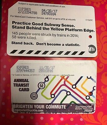 NYC Metrocard Preowed MTA Transit Card For Collection Only Empty