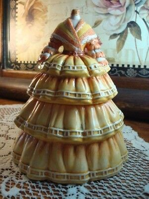 Jars Ala Mode Ceramic Cookie Jar Hand Painted Mannequin Colonial Civil War Dress