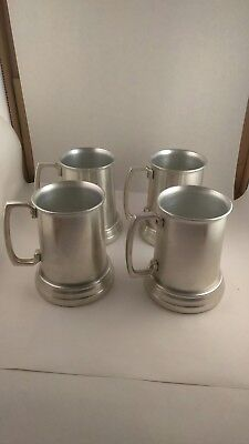 Vintage Aluminum Beer Stein Mug Glass Bottom Collectible Unique Set of 4