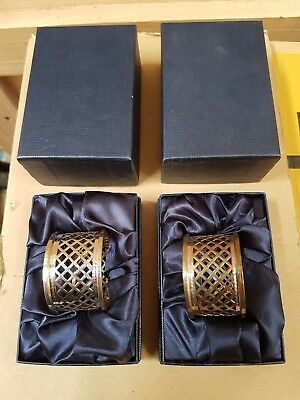 Pair Of Silver Napkin Holders Hallmarked In Original Presentation Boxes