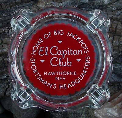 El Capitan Club Hawthorne, Nevada ~ Lobed Glass Casino Ash Tray ~ Big Jackpots