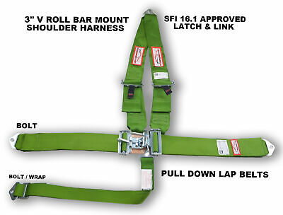 "Racing Harness Lime Green 5 Point Sfi 16.1 V Roll Bar Mount 3"" Latch & Link"