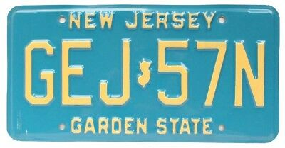 Vintage New Jersey 1990 License Plate, GEJ 57N, Buff on Blue Base, High Quality