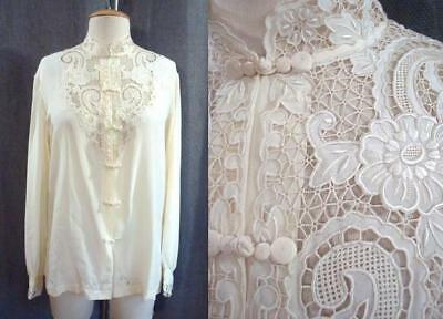 VTG Buttercream CUT WORK EMBROIDERED FLORAL Asian Button SILK BLOUSE 40 or M