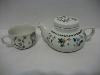 Vintage Small Teapot With Matching Cup-White W/floral Design